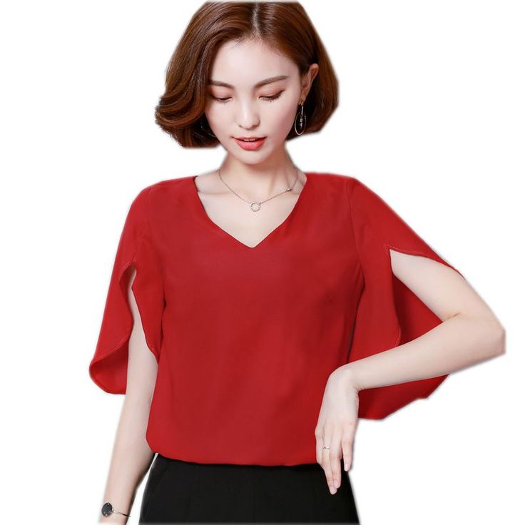 New 2017 Summer Loose Casual Women Chiffon Blouses Shirt Batwing Sleeve  Ladies Tops Solid Color Blusas