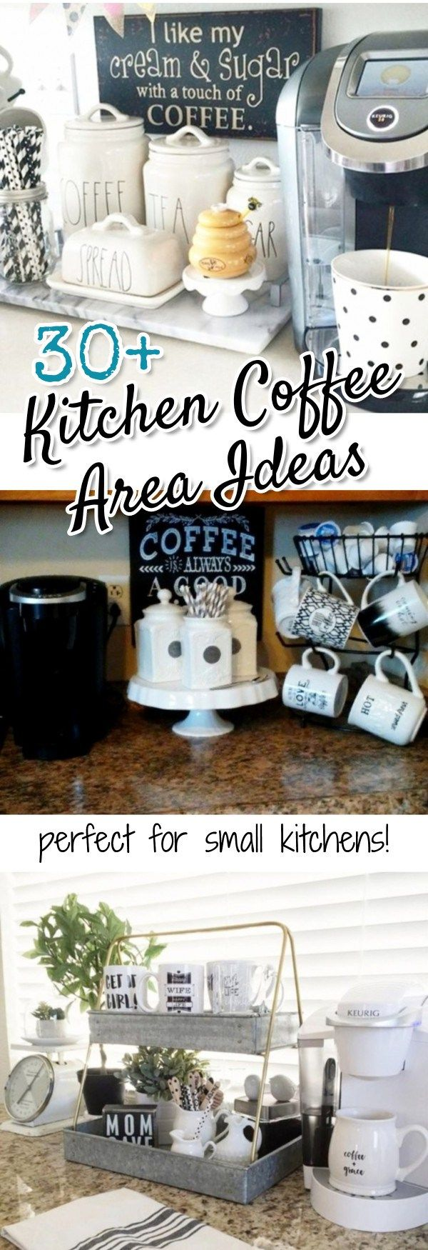 Gorgeous Kitchen Coffee Area Ideas we LOVE! Perfect ideas for small kitchens, apartment kitchens, condo or lakehouse kitchens - and even as a dorm room coffee bar set up