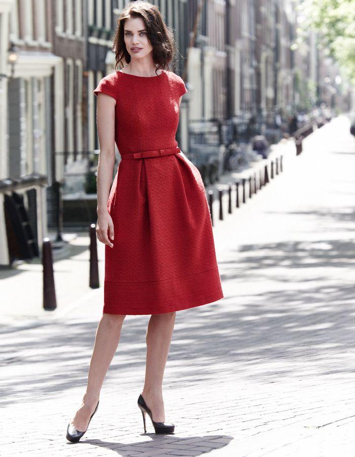 Bettina - rood - Flared tweed jurk | LaDress