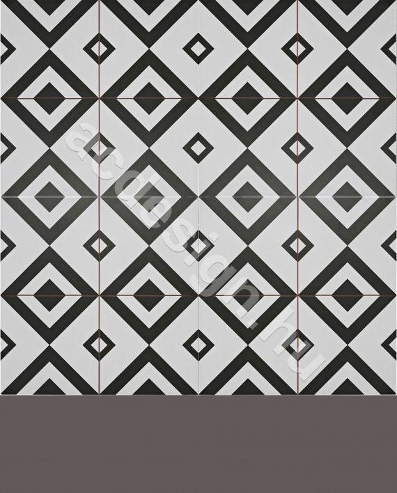 Modern mintás fekete fehér cementlap 45x45 cm méretben