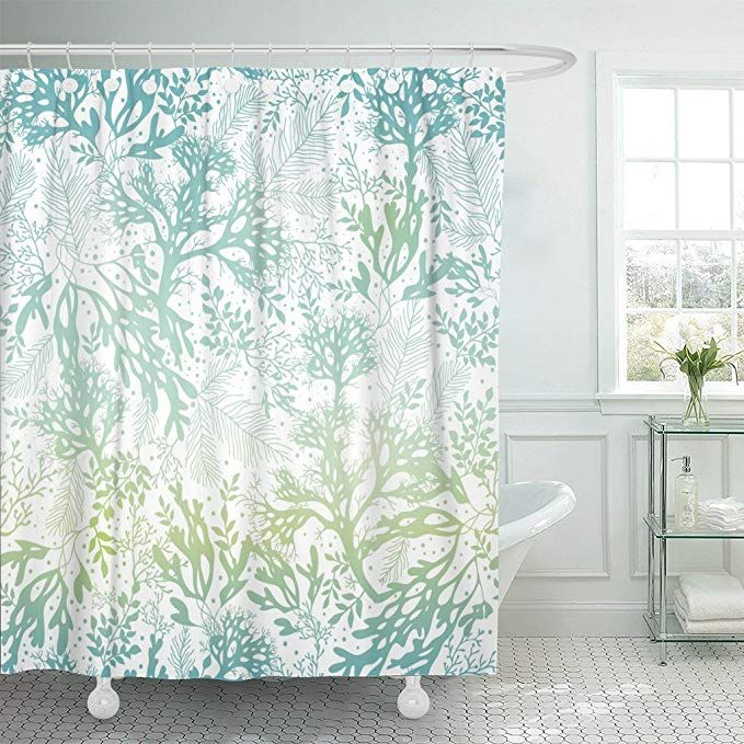 Emvency Shower Curtain Green Sea Blue Freen Seaweed Great For