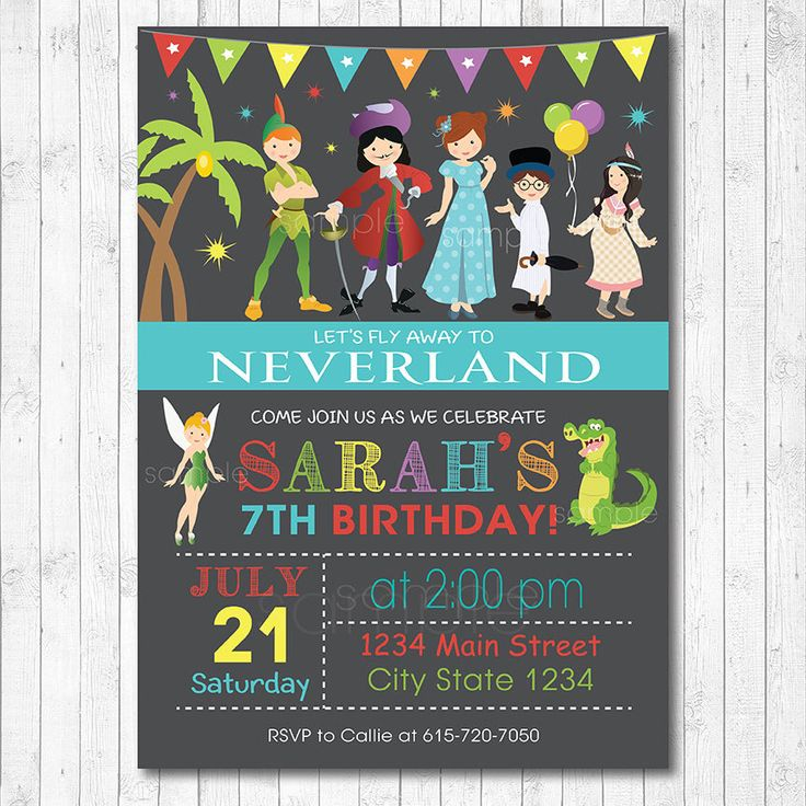 Neverland Invitation, Neverland Invite, Neverland Birthday, Neverland party, Peter Pan Invitation, Peter Pan Invite,Digital printable Invite by funkymushrooms on Etsy https://www.etsy.com/listing/195086950/neverland-invitation-neverland-invite