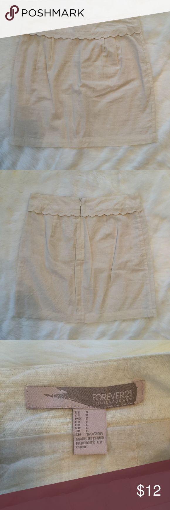 Forever 21 Scalloped Linen Skirt Size Small by Forever 21 and in excellent NWOT condition!  Color is cream, fabric has a linen feel, and a cute scallop detailing near the waistband! Forever 21 Skirts Mini