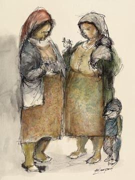 Gossiping Women by Amos Langdown -Photolithography Re-production | Dante Art Gallery