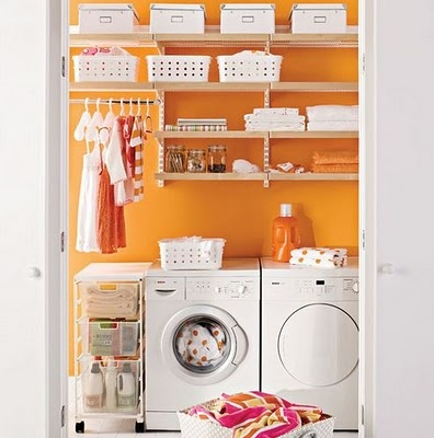 I want an orange laundry room!