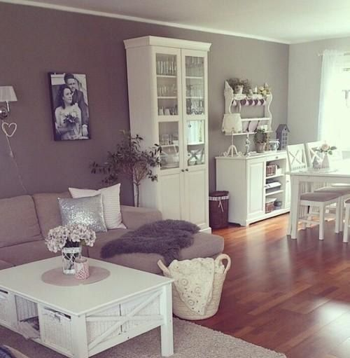 white and white furniture. love the irish tea walls and white furniture