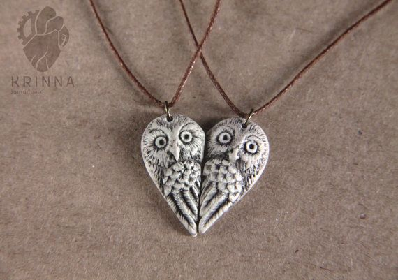 Personalized Owl pair necklace best friends by KrinnaHandmade