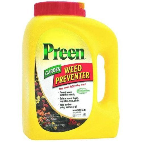 Preen Garden Weed Preventer - 5.6 lb. 2463795 by Preen. $18.32. Preen will not kill existing weeds, it can be used as a grass weed killing alternative. Prevents new weeds from sprouting. Stops weeds from germinating in flower and vegetable gardens, in ground covers and around trees and shrubs. 5.6 lb bottle. Your beds will stay neat and weed-free all season long!. From the Manufacturer Preen Weed Preventer stops weeds from germinating in flower and veget...