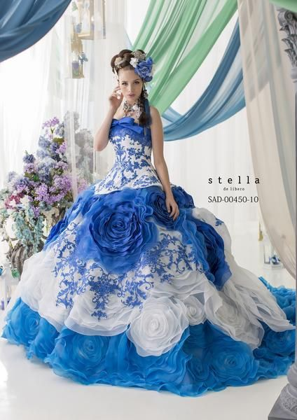 Stella de Libero's usual rampant beauty - blue and white gown.