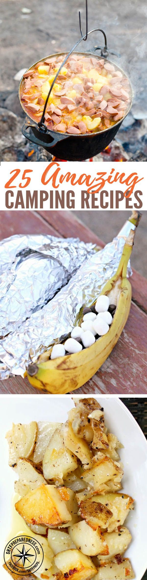 25 Amazing Camping Recipes — If you find yourself off the grid, either by choice or by circumstance, you'll need to cook meals without the usual conveniences found in the home. The easiest solution can be to open a can and heat something over a fire, but that can get old when you have a family to feed.