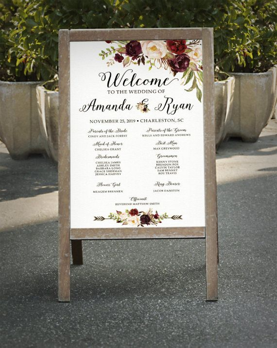 Hey, I found this really awesome Etsy listing at https://www.etsy.com/listing/504503606/wedding-program-sign-printable-burgundy