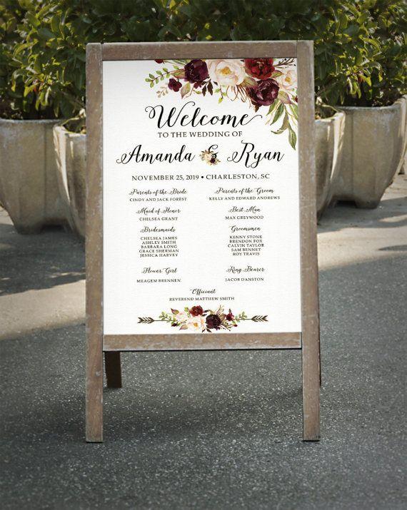 Hey, I found this really awesome Etsy listing at https://www.etsy.com/listing/504503606/wedding-program-sign-printable-burgundy