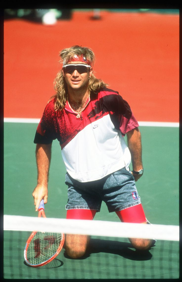 1990s American tennis player Andre Agassi paired denim shorts with fluorescent cycling shorts and flamboyant shirts. Agassi refused to play Wimbledon from 1988 to 1990 because he didn't approve of the all-white dress code.