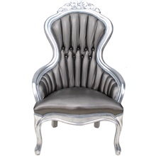 Victoria Ii Chair With Gunmetal Metallic Textured Vinyl Upholstery And Silver Frame Legs