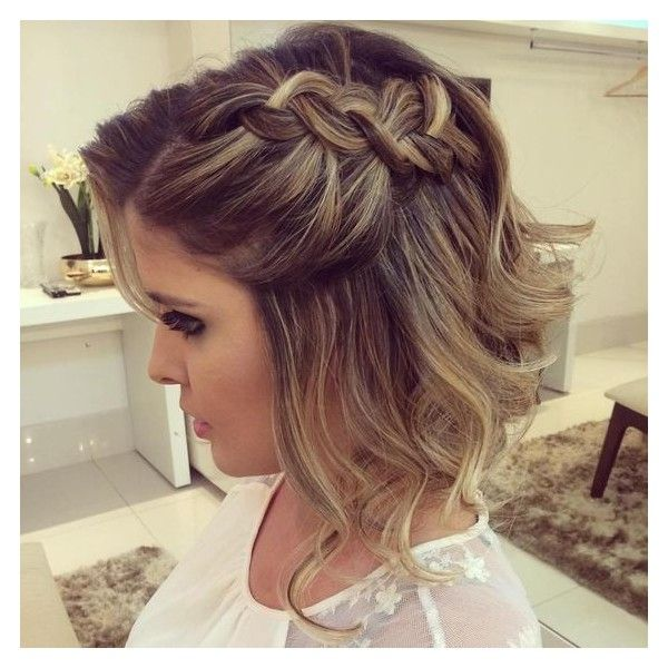 40 Hottest Prom Hairstyles for Short Hair ❤ liked on Polyvore featuring beauty products, haircare, hair styling tools, hair and hairstyles