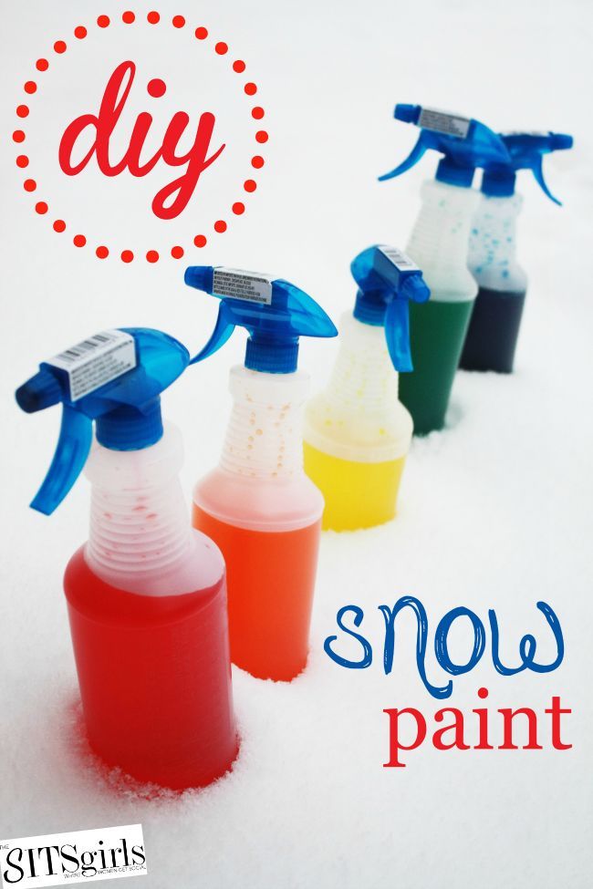 Add a little color to your winter games with a little food coloring and water. It's a great outdoor activity for the kids.