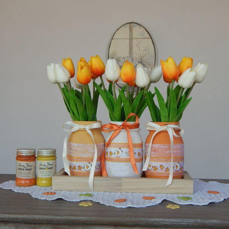 "Vasi dipinti ""GALLINELLE PASQUALI"" Set 3 barattoli - Primavera - Centrotavola - Pasqua - Painted jars ""Easter Hens"" di LUCIDELNORD su Etsy"