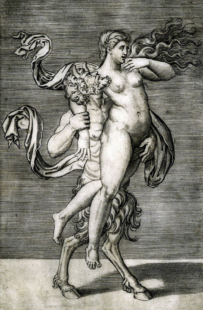 Agostino Veneziano-A satyr carrying a nymph (c. 1510).