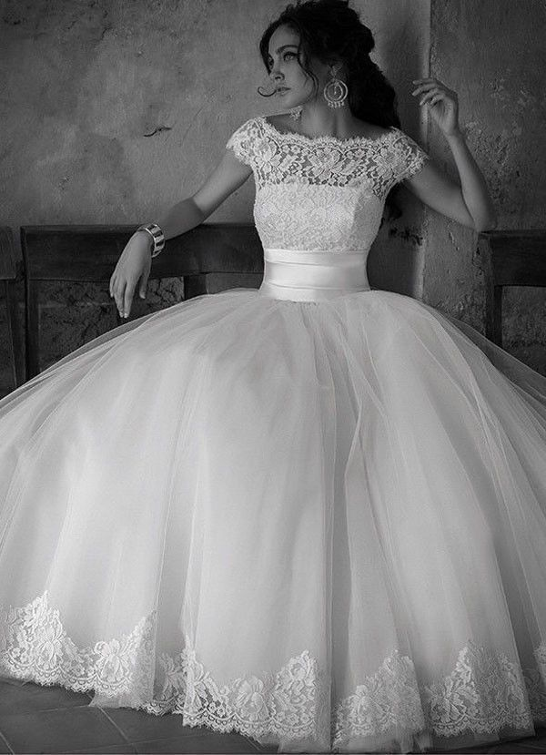2015+New+White/Ivory+Lace+Wedding+dress+Bridal+gown+Ball+Gown+Stock+US+Size+2-16+
