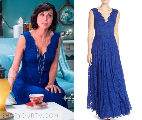 Cassie Nightingale (Catherine Bell) wears this blue lace v neck dress in this week's episode of the Good Witch. #Goodies #HallmarkChannel