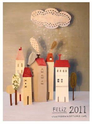 .Christmas Cards, Christmas Village, Betania Zacaria, Christmas Scene, Baby Toys, Art Room, House Art, Paper House, Diy Christmas