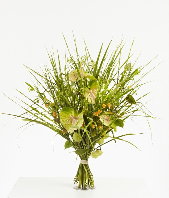 Green grass bouquet with Anthurium. Looks like summer.