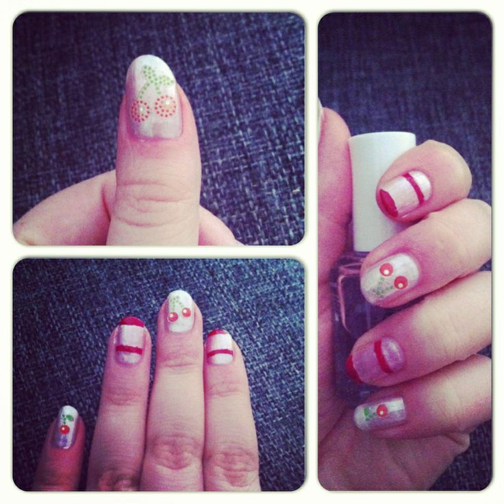 Nails of the day: white base with cherrys and some stripes. The cherrys are stickers from #panduro