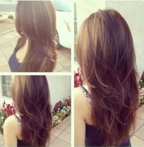 Long brown hair with layers