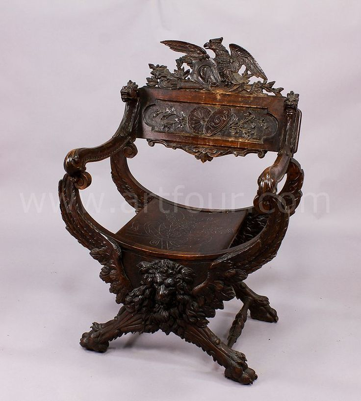 carved mythological chair with lion ca. 1880