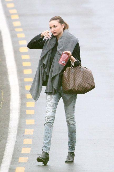 Miranda Kerr and her LV Damier Speedy bag. Love her denim pants too!