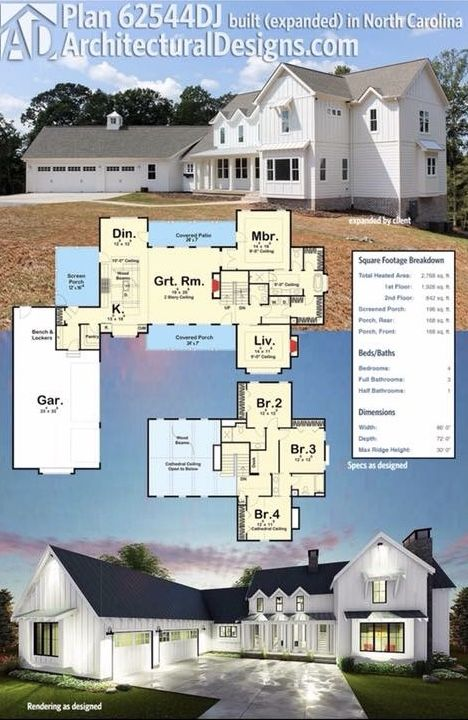 Architectural Designs Modern Farmhouse Plan 62544DJ built with modifications in North Carolina giving the client more room. Ready when you are. Where do YOU want to build? #62544DJ  #adhouseplans #architecturaldesigns #houseplan #architecture #newhome #newconstruction #newhouse #homedesign #dreamhome #dreamhouse #homeplan #architecture #architect #housegoals #Modernfarmhouse #Farmhousestyle #farmhouse