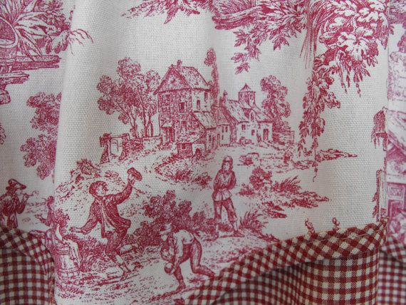 Window treatmen valance Black toile valance Red by LaTeDaWindows