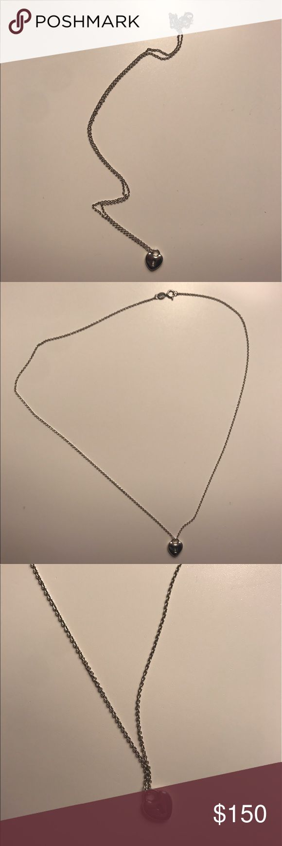 AUTHENTIC Tiffany and Co.  heart keyhole necklace Real Tiffany silver necklace. Small, spotless pendant on a silver chain. Beautiful for everyday. Tiffany & Co. Jewelry Necklaces