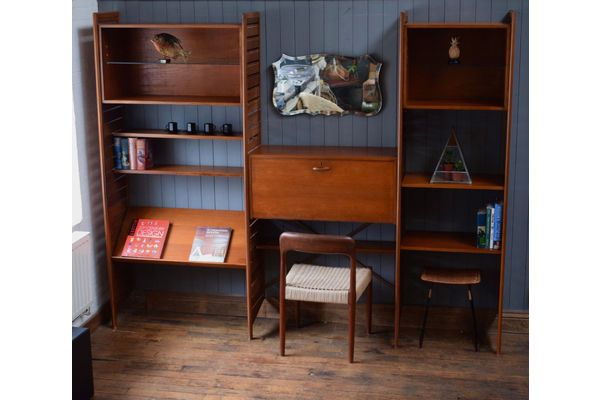 60s 70s Mid Century Retro Vintage Teak Ladderax Style Shelving System photo 1