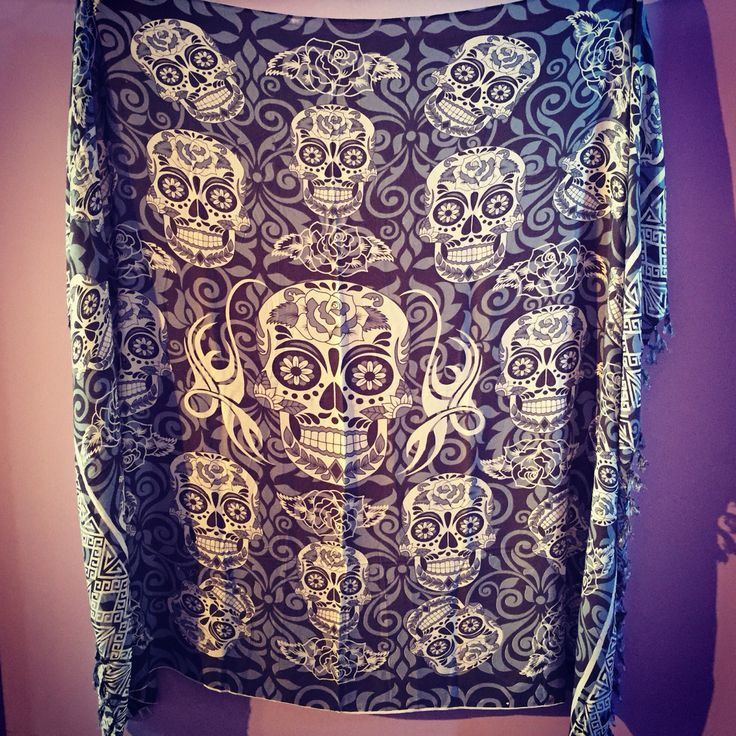 Check out our new sarong/scarf/table cloth/wall hanging - whatever you want it to be  #craftyoursanctuary #dayofthedead #skulls http://www.divinemine.com/products/sarong-skulls-45x62