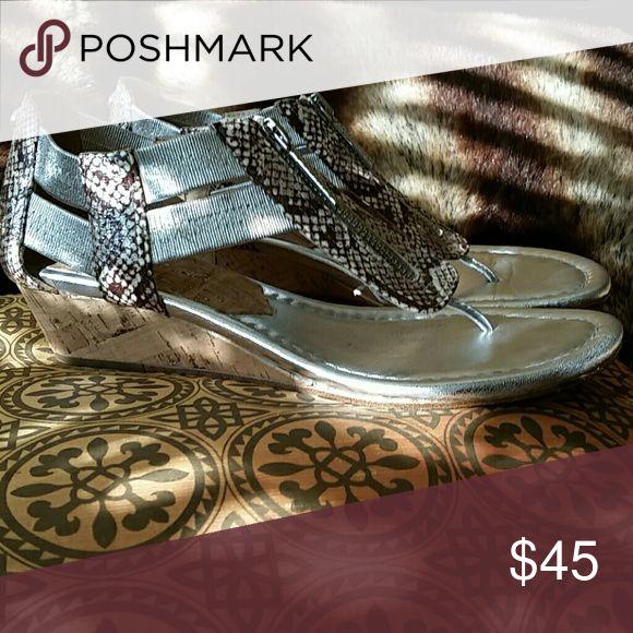 Donald Pliner Sandals Low cork wedge, silver matalic, animal print zip up Donald J. Pliner Shoes Sandals
