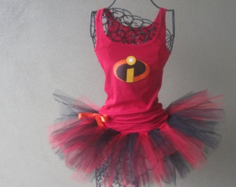 Running Tutu: Disney Incredibles Inspired Racing Tank and Pixie Length (9 inch) Tutu