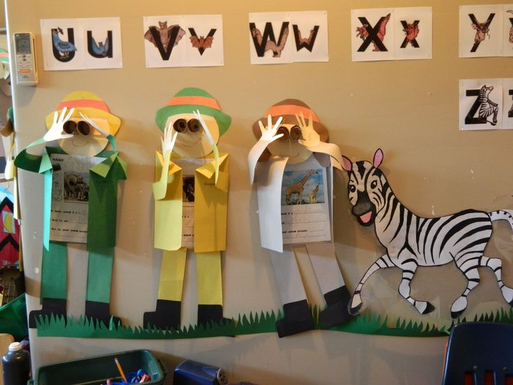 Safari kids (a way to display their safari animal report)