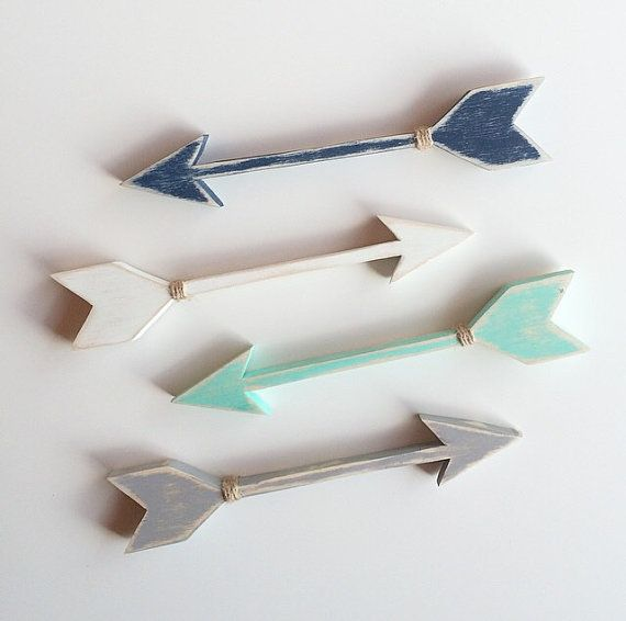 Wooden arrows. White, black, grey, mint by EastPlum perfect for a gallery wall or mantel