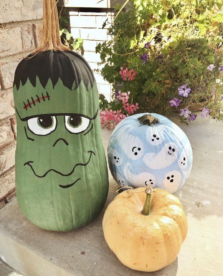 Hand painted pumpkins, ghost pumpkin, Frankenstein pumpkin, Halloween decorations, fall decorations, painted pumpkins, acrylic paint