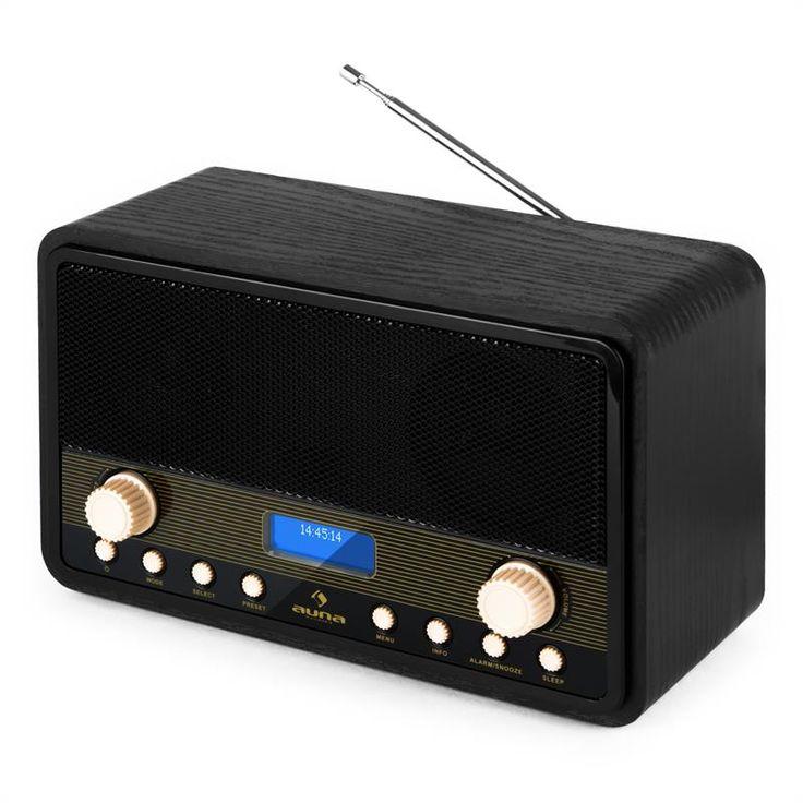 Auna Digidab Retro DAB Digital Radio FM/AM PLL Alarm Clock: Click to enlarge image!