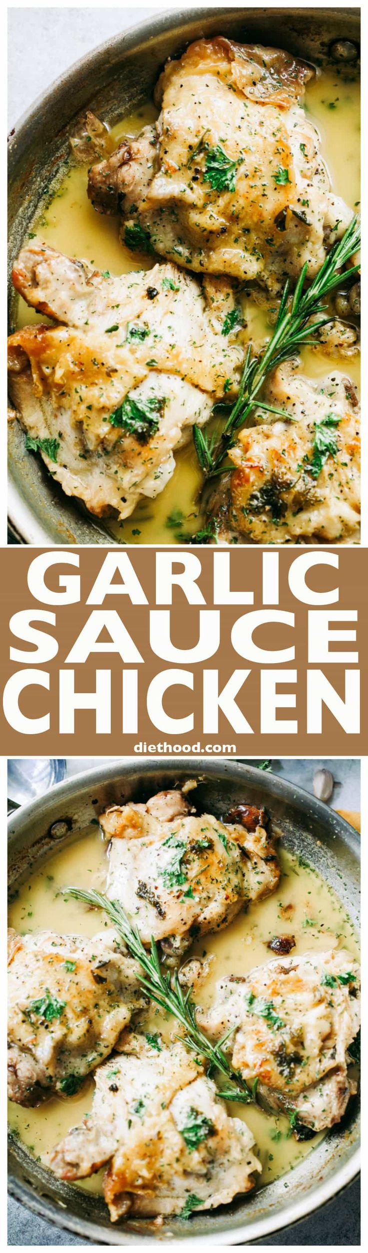 Garlic Sauce Chicken - Pan-seared chicken thighs prepared with an incredible wine and garlic sauce.