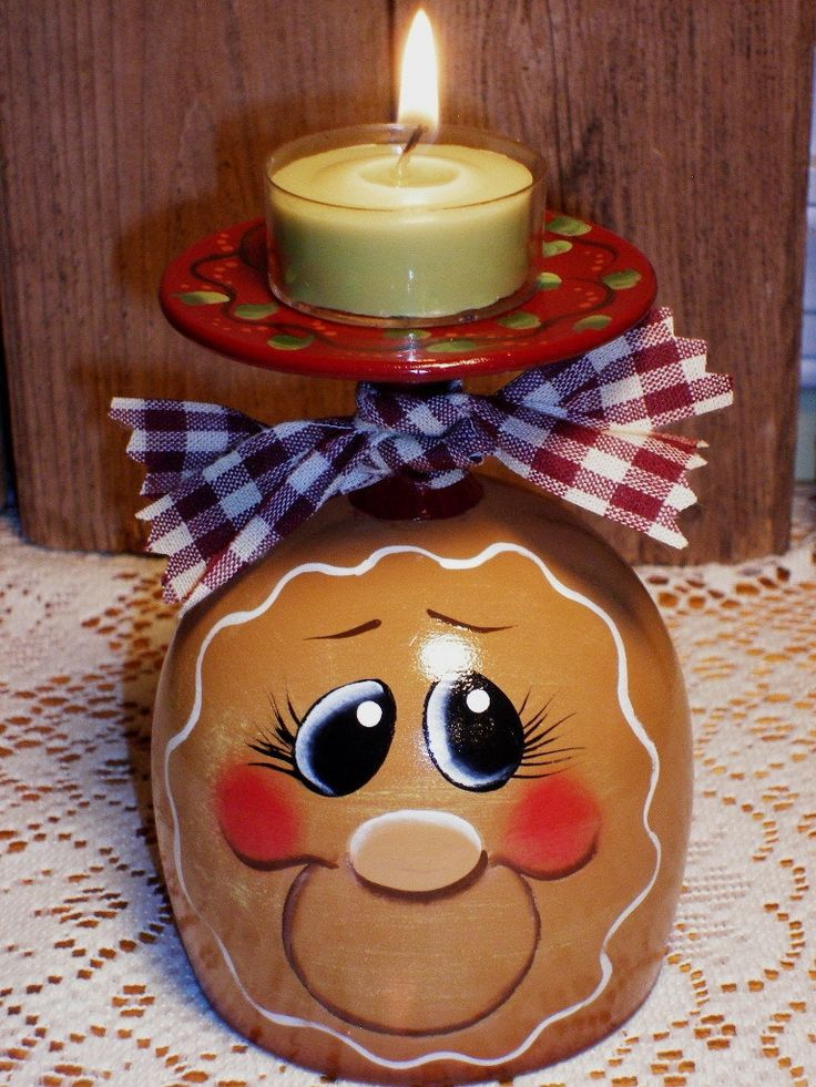 Gingerbread Wine Glass Candle Holder Hand