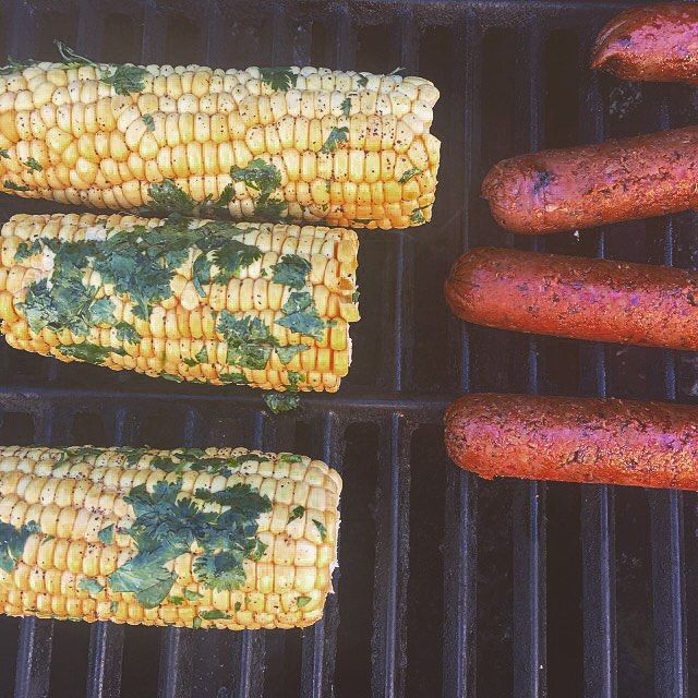 Grilling Cilantro Lime Corn to go with the Spicy Mexican Chipotle Field Roast.