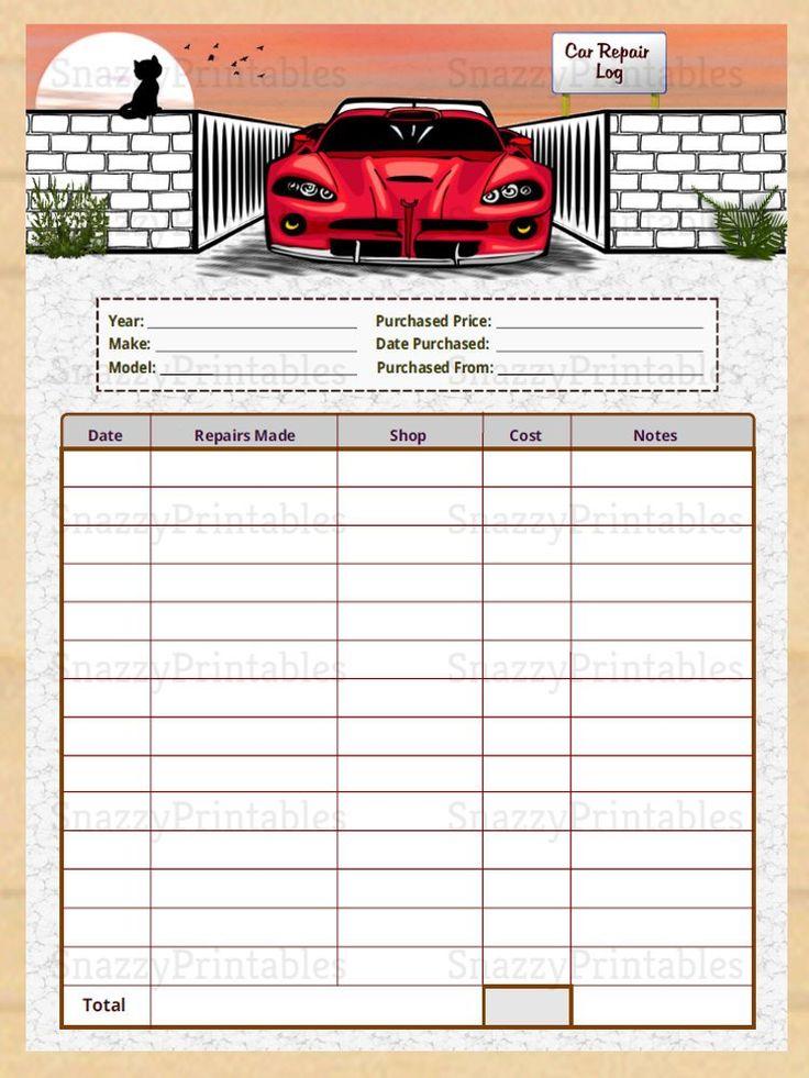 Editable Car Repair Log, Printable, Automotive Maintenance