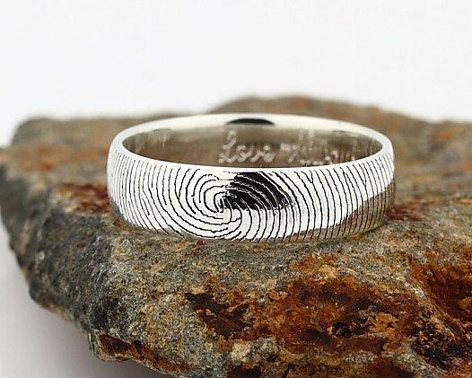 Your Custom Fingerprint Ring - Sterling Silver Engraving Wedding Band - 6mm, finger print