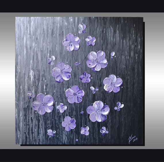 White Lavender Purple Blossom Flowers Painting Grey By ZarasShop