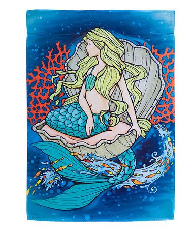 Look at this #zulilyfind! Mermaid in Clam Outdoor Flag #zulilyfinds