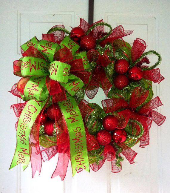 Whimsical, Lime Green & Red Striped Deco Mesh Christmas Wreath with Gorgeous Lime Green Merry Christmas Tree Top Bow
