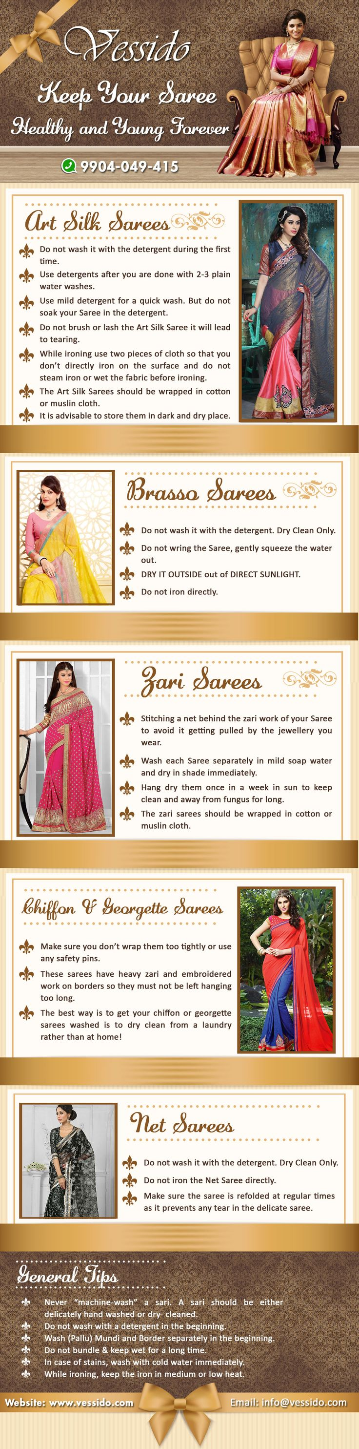 Vessido.com presenting useful tips to maintaining your gorgeous ethnic Sarees Healthy and Young Forever and preserving their colour and texture